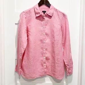 Talbots Pink 100% Linen Button Up Blouse Shirt